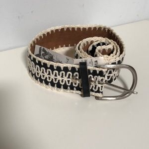 Betsy Johnson leather & crochet belt